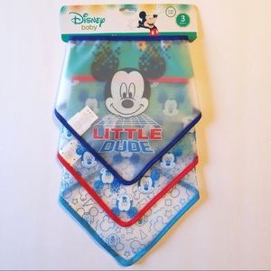 DISNEY MICKEY MOUSE SET OF 3 BANDANA BIBS